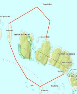 Kart over hummerfredningsområdet ved Bolærne