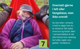 Jente i hengekøye og tips om telting og hengekøye