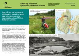 Skilt som forteller hvordan slåttemark gjenskapes på Mellom Bolæren Færder nasjonalpark