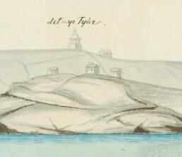 Illustrasjon av bygningene på Store Færder i 1805 fra Kort- og matrikkelstyrelsens arkiv i København