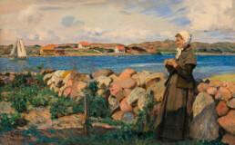 Maleri som viser kone som skuer utover et sund med seilbåt og skjærgård. Maleri Eilif PEtersen 1894. Statens Museum for Kunst i København.