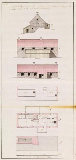Illustrasjon som viser fyrmesterboligen. Illustrasjon av byggmester Koch 1804 fra Riksarkivet.